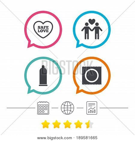 Condom safe sex icons. Lovers Gay couple signs. Male love male. Heart symbol. Calendar, internet globe and report linear icons. Star vote ranking. Vector