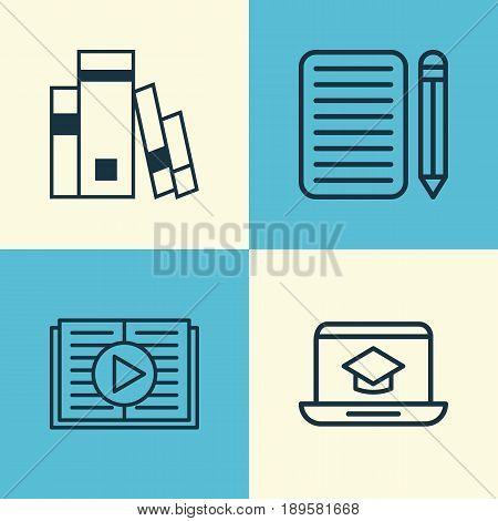 School Icons Set. Collection Of Taped Book, Home Work, Distance Learning And Other Elements. Also Includes Symbols Such As Taped, Reader, Learning.