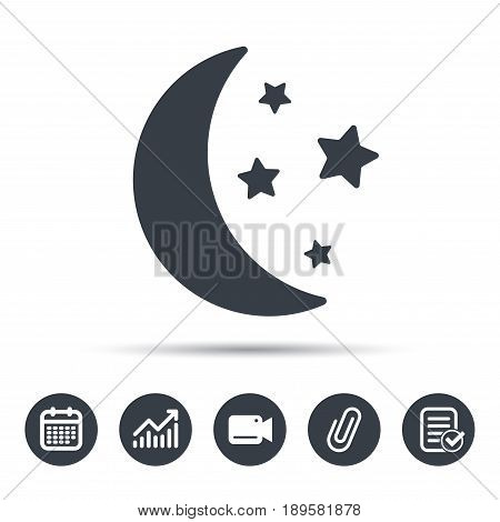 Moon and stars icon. Night sleep symbol. Calendar, chart and checklist signs. Video camera and attach clip web icons. Vector