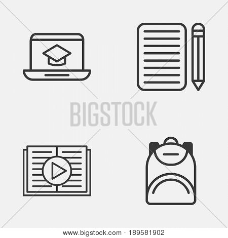 School Icons Set. Collection Of Home Work, Distance Learning, Haversack And Other Elements. Also Includes Symbols Such As Backpack, Learn, Distance.