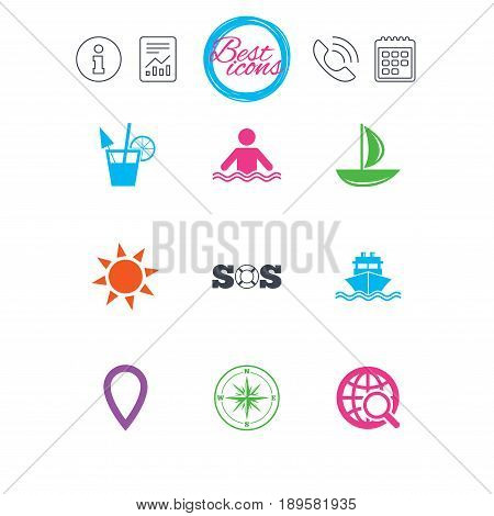Information, report and calendar signs. Cruise trip, ship and yacht icons. Travel, cocktail and sun signs. Sos, windrose compass and swimming symbols. Classic simple flat web icons. Vector