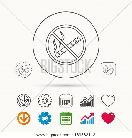 No smoking icon. Stop smoke sign. Calendar, Graph chart and Cogwheel signs. Download and Heart love linear web icons. Vector