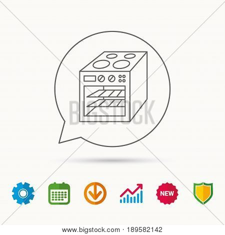 Oven icon. Electric stove sign. Calendar, Graph chart and Cogwheel signs. Download and Shield web icons. Vector