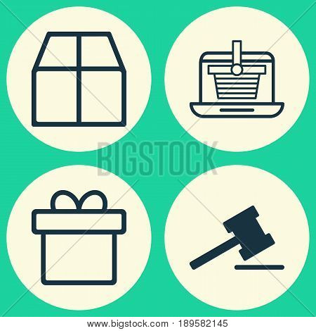 Ecommerce Icons Set. Collection Of Cardboard, E-Trade, Gavel And Other Elements. Also Includes Symbols Such As Auction, Present, Gift.