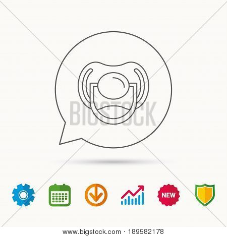 Pacifier icon. Nipple or dummy sign. Newborn child relax equipment symbol. Calendar, Graph chart and Cogwheel signs. Download and Shield web icons. Vector
