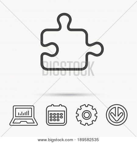 Puzzle icon. Jigsaw logical game sign. Boardgame piece symbol. Notebook, Calendar and Cogwheel signs. Download arrow web icon. Vector