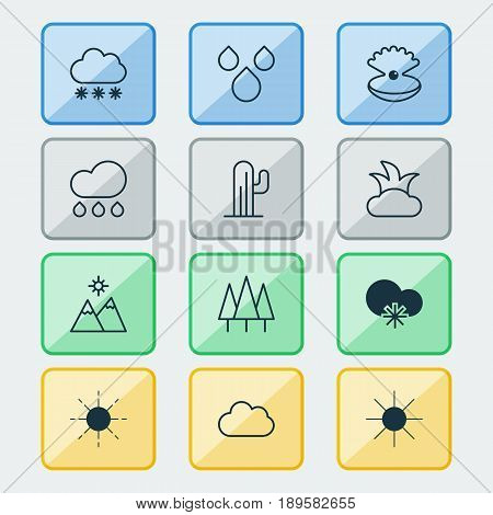 Harmony Icons Set. Collection Of Sun, Water Drops, Cactus And Other Elements. Also Includes Symbols Such As Weather, Relief, Water.