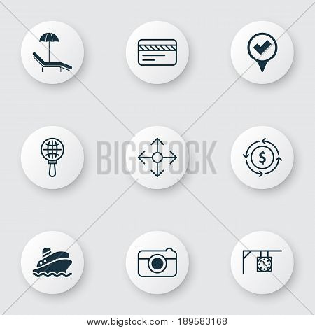 Travel Icons Set. Collection Of Checked Pointer, Money Recycle, Direction Arrows And Other Elements. Also Includes Symbols Such As Exchange, Direction, Time.