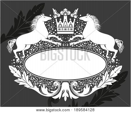 Black and white floral frame with crown and horses