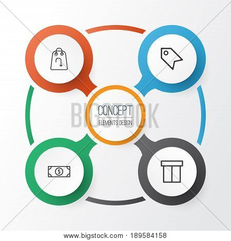 Ecommerce Icons Set. Collection Of Price Stamp, Box, Refund And Other Elements. Also Includes Symbols Such As Package, Tag, Packet.