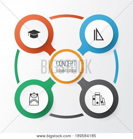 School Icons Set. Collection Of Graduation, Haversack, Library And Other Elements. Also Includes Symbols Such As Backpack, Book, Graduation.