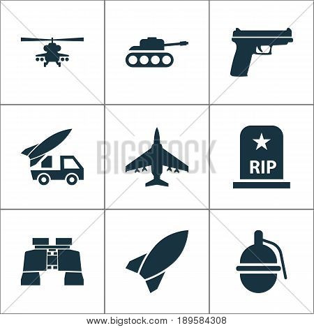 Combat Icons Set. Collection Of Bombshell, Aircraft, Panzer And Other Elements. Also Includes Symbols Such As Bombshell, Binoculars, Mechanism.