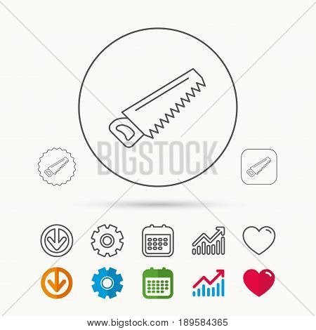 Saw icon. Carpentry equipment sign. Hacksaw symbol. Calendar, Graph chart and Cogwheel signs. Download and Heart love linear web icons. Vector