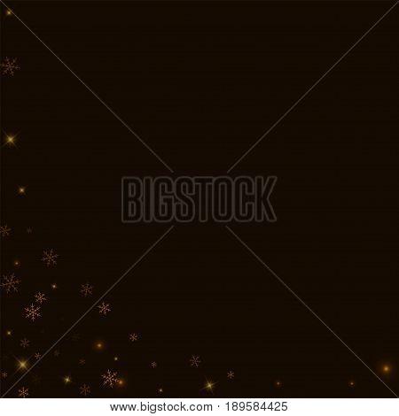 Sparse Starry Snow. Abstract Left Bottom Corner On Black Background. Vector Illustration.