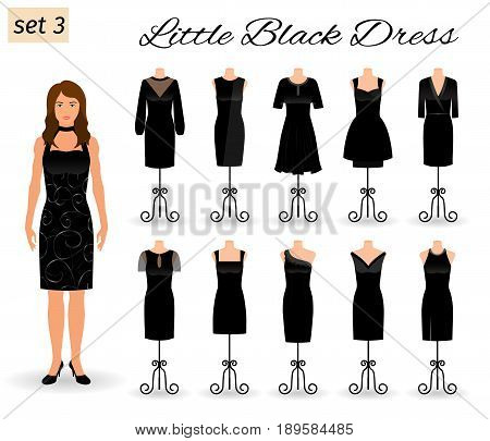 Stylish woman character in little black dress. Set of cocktail dresses on a mannequins. Flat vector illustration.