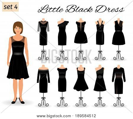 Stylich woman character in little black dress. Set of evening dresses for cocktail on a mannequins. Flat vector illustration.