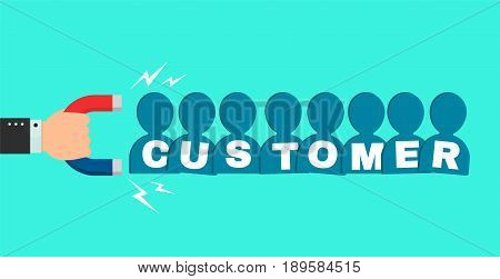 Hand of a businessman with a big magnet attracts new customer buyers people sign. Vector flat cartoon modern style illustration icon design. Successful business customer magnet concept
