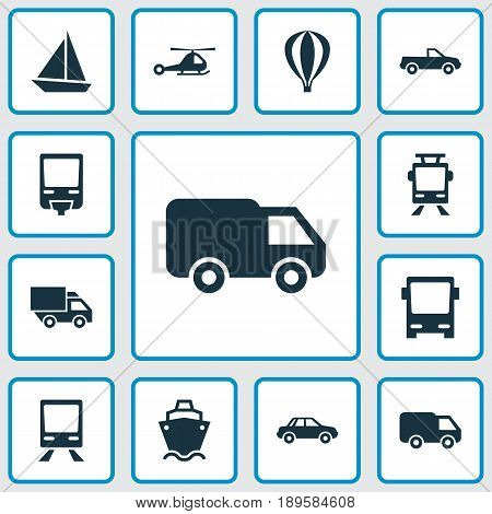 Transportation Icons Set. Collection Of Van, Cabriolet, Omnibus And Other Elements. Also Includes Symbols Such As Car, Autobus, Wagon.