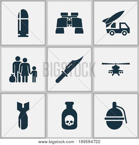 Army Icons Set. Collection Of Chopper, Fugitive, Rocket And Other Elements. Also Includes Symbols Such As People, Knife, Glass.