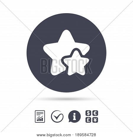 Star icon. Favorite sign. Best rated symbol. Report document, information and check tick icons. Currency exchange. Vector