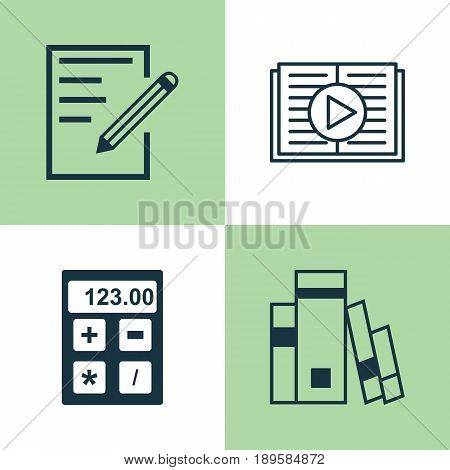 Education Icons Set. Collection Of Paper, Library, Electronic Tool And Other Elements. Also Includes Symbols Such As Calculator, Tool, Reader.