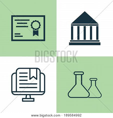 School Icons Set. Collection Of E-Study, Chemical, Certificate And Other Elements. Also Includes Symbols Such As Chemical, Building, School.