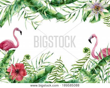 Watercolor tropical floral card with flamingo. Hand painted summer frame with palm tree leaves, fern branch, banana and magnolia leaves, hibiscus flower isolated on white background. For design