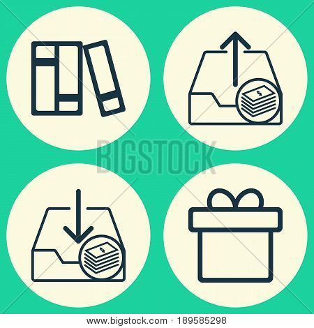 E-Commerce Icons Set. Collection Of Withdraw Money, Outgoing Earnings, Present And Other Elements. Also Includes Symbols Such As Download, Gift, Money.