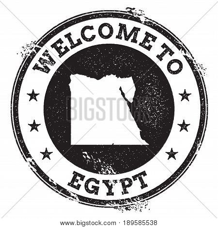 Vintage Passport Welcome Stamp With Egypt Map. Grunge Rubber Stamp With Welcome To Egypt Text, Vecto