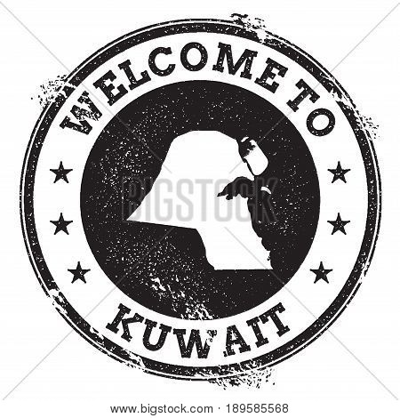 Vintage Passport Welcome Stamp With Kuwait Map. Grunge Rubber Stamp With Welcome To Kuwait Text, Vec