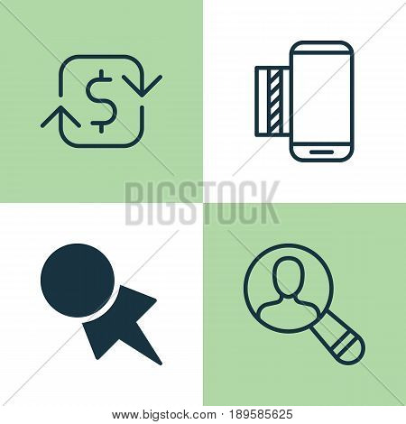 E-Commerce Icons Set. Collection Of Spectator, Discount Coupon, Mobile Service And Other Elements. Also Includes Symbols Such As Money, Telephone, Find.