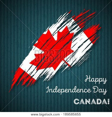Canada Independence Day Patriotic Design. Expressive Brush Stroke In National Flag Colors On Dark St