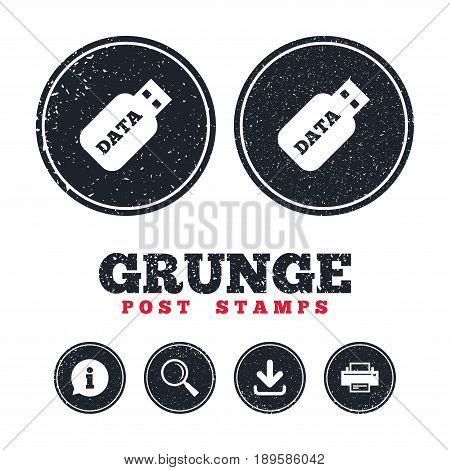 Grunge post stamps. Usb Stick sign icon. Usb flash drive button. Information, download and printer signs. Aged texture web buttons. Vector