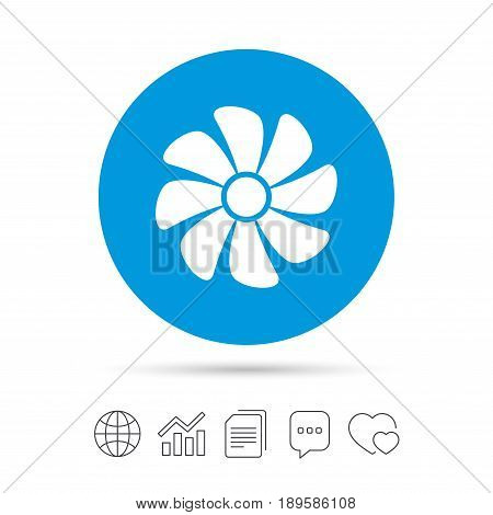 Ventilation sign icon. Ventilator symbol. Copy files, chat speech bubble and chart web icons. Vector