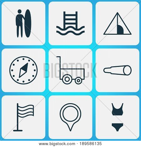 Tourism Icons Set. Collection Of Cardinal Direction, Surf-Board, Bathing Costume And Other Elements. Also Includes Symbols Such As Camping, Compass, North.