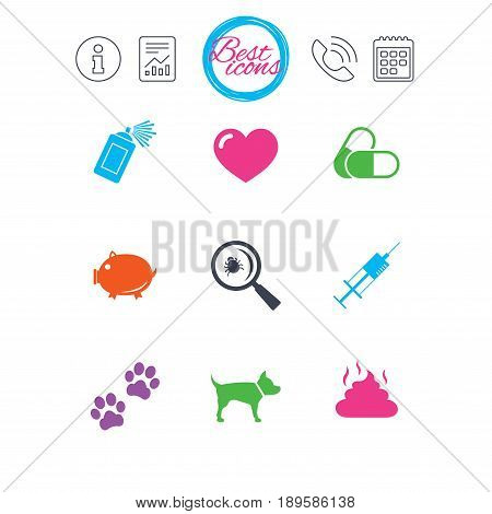 Information, report and calendar signs. Veterinary, pets icons. Dog paws, syringe and magnifier signs. Pills, heart and feces symbols. Classic simple flat web icons. Vector