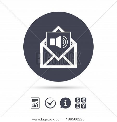 Voice mail icon. Speaker symbol. Audio message. Report document, information and check tick icons. Currency exchange. Vector