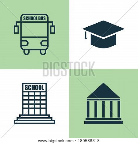 Education Icons Set. Collection Of Transport Vehicle, Academy, Graduation And Other Elements. Also Includes Symbols Such As Building, Graduation, Education.