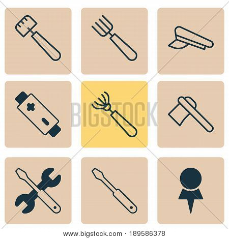 Apparatus Icons Set. Collection Of Alkaline, Screwdriver With Wrench, Location And Other Elements. Also Includes Symbols Such As Axe, Cop, Alkaline.