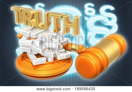 Truth On A Stack Of Lies Legal Concept 3D Illustration