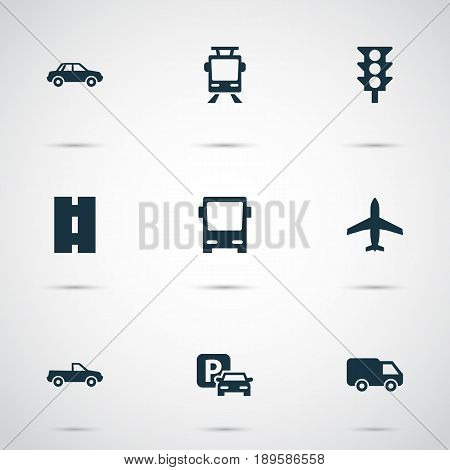 Shipment Icons Set. Collection Of Automobile, Way, Omnibus And Other Elements. Also Includes Symbols Such As Auto, Traffic, Stoplight.