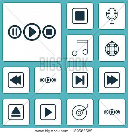 Audio Icons Set. Collection Of Skip Song, Note, Song UI And Other Elements. Also Includes Symbols Such As Music, Fast, Play.
