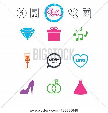 Information, report and calendar signs. Wedding, engagement icons. Rings, gift box and brilliant signs. Dress, shoes and musical notes symbols. Classic simple flat web icons. Vector