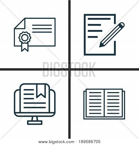 School Icons Set. Collection Of Opened Book, Paper, E-Study And Other Elements. Also Includes Symbols Such As Literature, Book, Study.