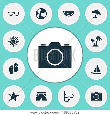 Icons Set. Collection Of Ship, Melon, Beach Sandals Elements. Also Includes Symbols Such As Star, Spectacles, Sandals.