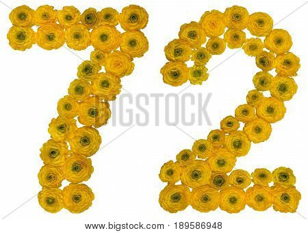 Arabic Numeral 72, Seventy Two, From Yellow Flowers Of Buttercup, Isolated On White Background