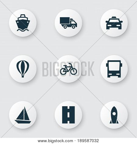 Transportation Icons Set. Collection Of Airship, Omnibus, Yacht And Other Elements. Also Includes Symbols Such As Tanker, Air, Spaceship.