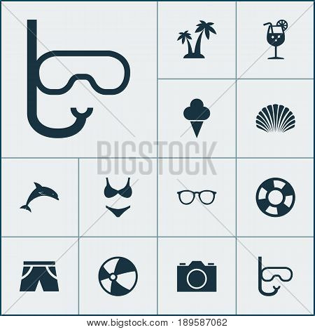 Icons Set. Collection Of Tube, Spectacles, Lemonade And Other Elements. Also Includes Symbols Such As Sunshades, Balloon, Ball.