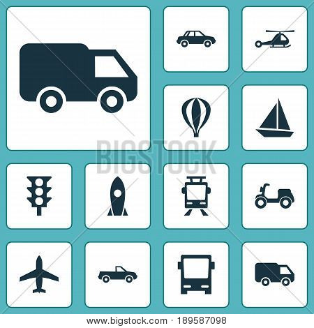 Shipment Icons Set. Collection Of Truck, Streetcar, Automobile And Other Elements. Also Includes Symbols Such As Car, Van, Omnibus.