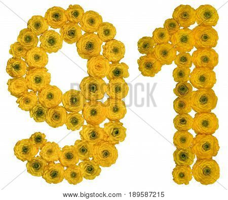 Arabic Numeral 91, Ninety One, From Yellow Flowers Of Buttercup, Isolated On White Background